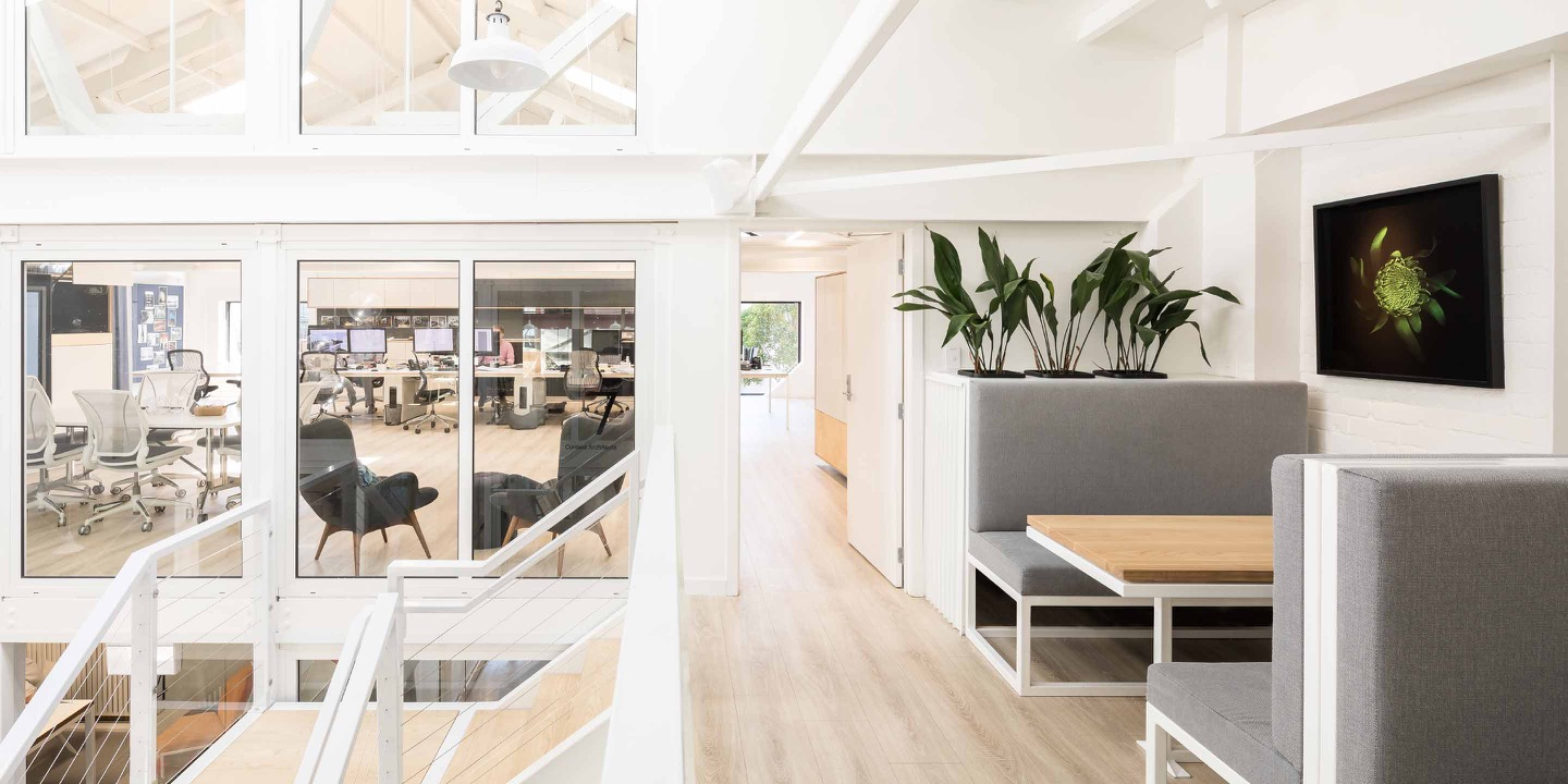 Interior of the upstairs offices and communal space at Qb Studios Christchurch CBD